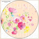 "Peach Wild Flowers  ~ 7"" Round Foil Pan Lid Cover"