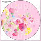 "Pink Wild Flowers  ~ 7"" Round Foil Pan Lid Cover"