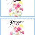 Blue Border Wild FLowers ~ Salt & Pepper Shaker Covers Wrappers