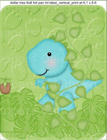 "Dinosaur Green  ~ Vertical ~ 6"" X 8"" Foil Pan Lid Cover"
