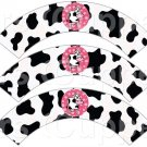 Pink Cow ~  Cupcake Wrappers ~ Set of 1 Dozen