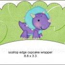 Dinosaur Green #2 ~ Scalloped Cupcake Wrappers ~ Set of 1 Dozen