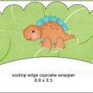 Dinosaur Green #4 ~ Scalloped Cupcake Wrappers ~ Set of 1 Dozen