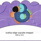 Dinosaur Purple #1 ~ Scalloped Cupcake Wrappers ~ Set of 1 Dozen