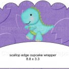 Dinosaur Purple #3 ~ Scalloped Cupcake Wrappers ~ Set of 1 Dozen