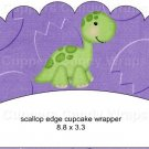 Dinosaur Purple #5 ~ Scalloped Cupcake Wrappers ~ Set of 1 Dozen