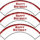 Red Edge Happy Birthday ~  Cupcake Wrappers ~ Set of 1 Dozen