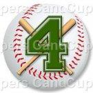 Green Baseball Number 4 ~ Cupcake Toppers ~ Set of 1 Dozen