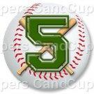 Green Baseball Number 5 ~ Cupcake Toppers ~ Set of 1 Dozen