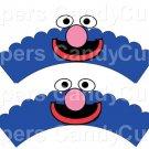 Grover Sesame Street Inspired ~  Scalloped Cupcake Wrappers ~ Set of 1 Dozen