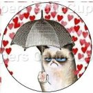 Red Hearts Grumpy Cat Inspired by ~ Cupcake Toppers ~ Set of 1 Dozen