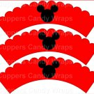 Red Silhouette Mickey Mouse  Inspired by ~  Scalloped Cupcake Wrappers ~ Set of 1 Dozen