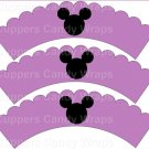 Purple Silhouette Mickey Mouse  Inspired by ~  Scalloped Cupcake Wrappers ~ Set of 1 Dozen