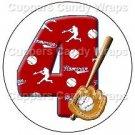 #4 Baseball  ~ Cupcake Toppers ~ Set of 1 Dozen