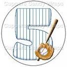 #5 Baseball  ~ Cupcake Toppers ~ Set of 1 Dozen