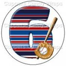 #6 Baseball  ~ Cupcake Toppers ~ Set of 1 Dozen