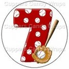 #7 Baseball  ~ Cupcake Toppers ~ Set of 1 Dozen