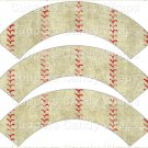 Baseball Skin ~  Scalloped Cupcake Wrappers ~ Set of 1 Dozen