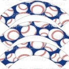 Baseballs Blue ~  Scalloped Cupcake Wrappers ~ Set of 1 Dozen