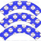 Bright Blue Baseball  ~  Scalloped Cupcake Wrappers ~ Set of 1 Dozen