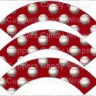 Red Baseball  ~  Scalloped Cupcake Wrappers ~ Set of 1 Dozen