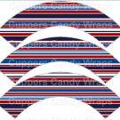 Red White Blue Stripe Baseball  ~  Scalloped Cupcake Wrappers ~ Set of 1 Dozen