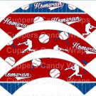 Homerun Baseball  ~  Scalloped Cupcake Wrappers ~ Set of 1 Dozen