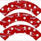 Red Homerun Baseball  ~  Scalloped Cupcake Wrappers ~ Set of 1 Dozen
