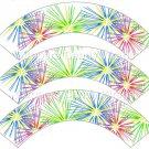 Pink Green Blue Fireworks  ~ Cupcake Wrappers ~ Set of 1 Dozen