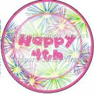Pink Green Blue Fireworks Pink Border  ~ Cupcake Toppers ~ Set of 1 Dozen