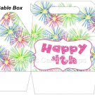 Pink Green Blue Fireworks Pink Border   ~ Gable Gift or Snack Box DOZEN