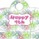 Pink Green Blue Fireworks Pink Border  ~ Handled Handbag Gift Tote Bag EACH
