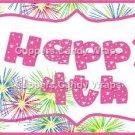 Pink Green Blue Fireworks Pink Border   ~  Pint Glass Jar