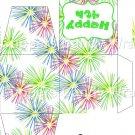 Pink Green Blue Fireworks Green Border ~ Cupcake Box ~ EACH
