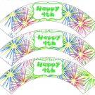 Pink Green Blue Fireworks Green Border ~ Cupcake Wrappers ~ Set of 1 Dozen
