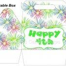 Pink Green Blue Fireworks Green Border  ~ Gable Gift or Snack Box DOZEN