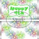 Pink Green Blue Fireworks Green Border ~ Standard 1.55 oz Candy Bar Wrapper  SOE