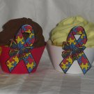 Autism Butterfly Ribbon Assortment ~ Cupcake Wrappers ~ Set of 1 Dozen