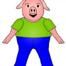 Three Little Pigs Green Shirt Pig  Brad Paper Puppet