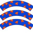 Superman Inspired by  Super Heroes ~ Cupcake Wrappers ~ Set of 1 Dozen