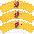 Spring Butterfly Yellow & Red Yellow Background ~ Cupcake Wrappers ~ Set of 1 Dozen