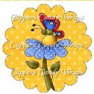 Spring Butterfly Blue Flower Yellow Background ~ Cupcake Toppers ~ Set of 1 Dozen