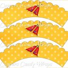 Spring Butterfly Redr Yellow Background ~ Cupcake Wrappers ~ Set of 1 Dozen