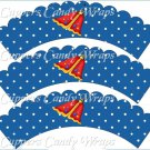 Spring Butterfly Red Blue Background ~ Cupcake Wrappers ~ Set of 1 Dozen