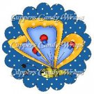 Spring Butterfly Blue & Yellow Blue Background ~ Cupcake Toppers ~ Set of 1 Dozen