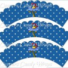 Spring Butterfly Blue Flower Blue Background ~ Cupcake Wrappers ~ Set of 1 Dozen