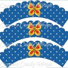 Spring Butterfly Yellow & Red Blue Background ~ Cupcake Wrappers ~ Set of 1 Dozen
