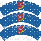 Spring Butterfly Blue & Red Blue Background ~ Cupcake Wrappers ~ Set of 1 Dozen