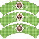 Cream Flower Green Plaid Bright Button Flower ~ Cupcake Wrappers ~ Set of 1 Dozen