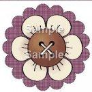 Cream Flower Purple Plaid Bright Button Flower ~ Cupcake Toppers ~ Set of 1 Dozen
